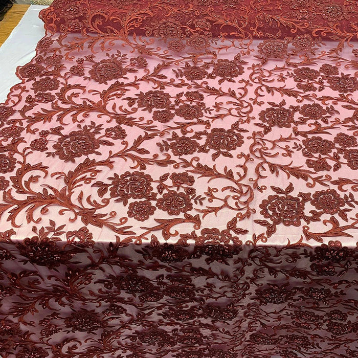Burgundy - ONE Yard  Hand Beaded Lace Fabric Embroidery Mesh Floral Lace With Sequins AND Flowers Wedding Prom Dress Night Gowns  Veil - IceFabrics