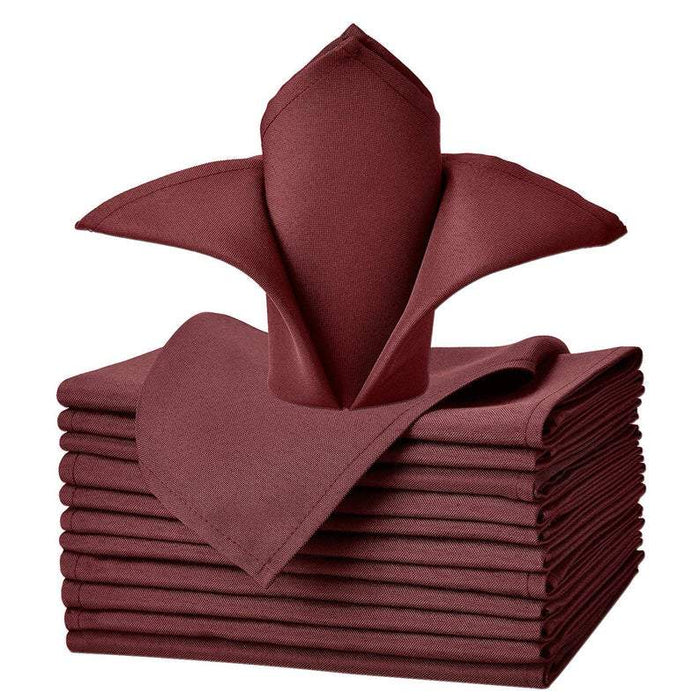 "Burgundy - 20""x20"" Solid Polyester Washable Cloth Napkins For Wedding Party Restaurant Dinner - Set of 12 Pieces - IceFabrics"