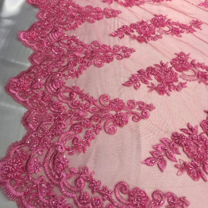 Candy Pink - Floral Embroidered Bridal Wedding Beaded Mesh Lace Fabric - IceFabrics