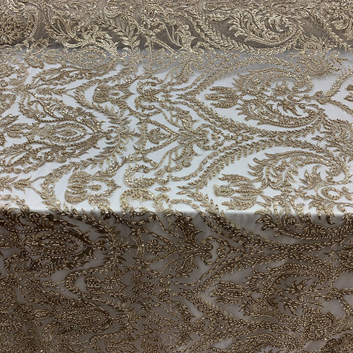 Champagne - Elegant Embroidered French Lace Beaded Mesh Lace Fabric - IceFabrics