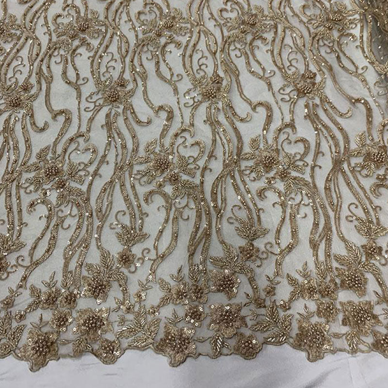 Champagne - Elegant Embroidery Bridal Floral Flowers Beaded Lace Fabric (20 Colors) - IceFabrics