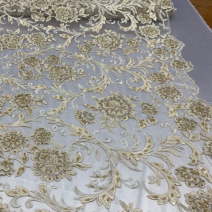 Champagne - ONE Yard  Hand Beaded Lace Fabric Embroidery Mesh Floral Lace With Sequins AND Flowers Wedding Prom Dress Night Gowns  Veil - IceFabrics