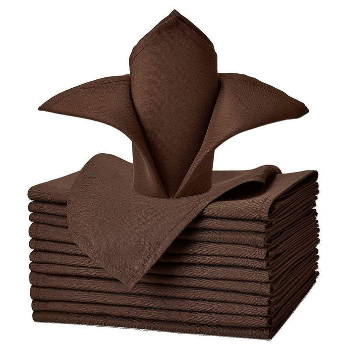 "Chocolate - 20""x20"" Solid Polyester Washable Cloth Napkins For Wedding Party Restaurant Dinner - Set of 12 Pieces - IceFabrics"