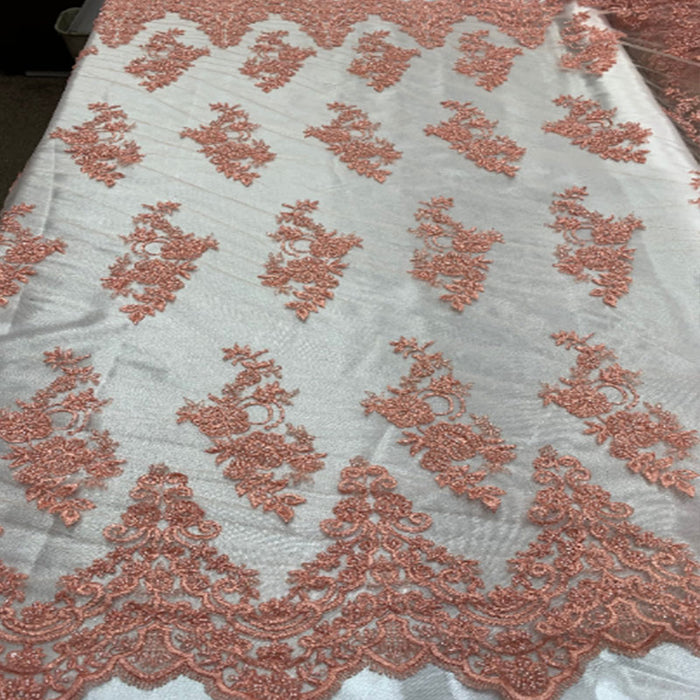 Coral - Floral Embroidered Bridal Wedding Beaded Mesh Lace Fabric - IceFabrics