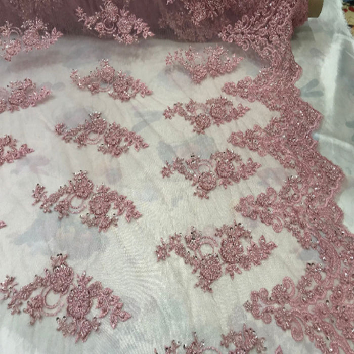 Dusty Rose - Floral Embroidered Bridal Wedding Beaded Mesh Lace Fabric - IceFabrics
