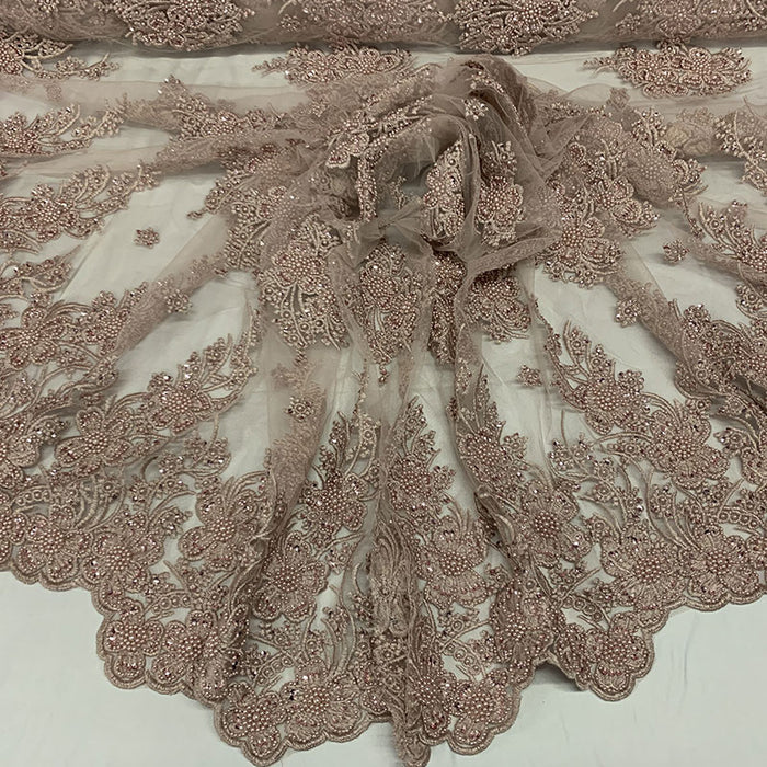 Dusty Rose - Corded Flowers Floral Beaded Mesh Lace Wedding Dress - IceFabrics