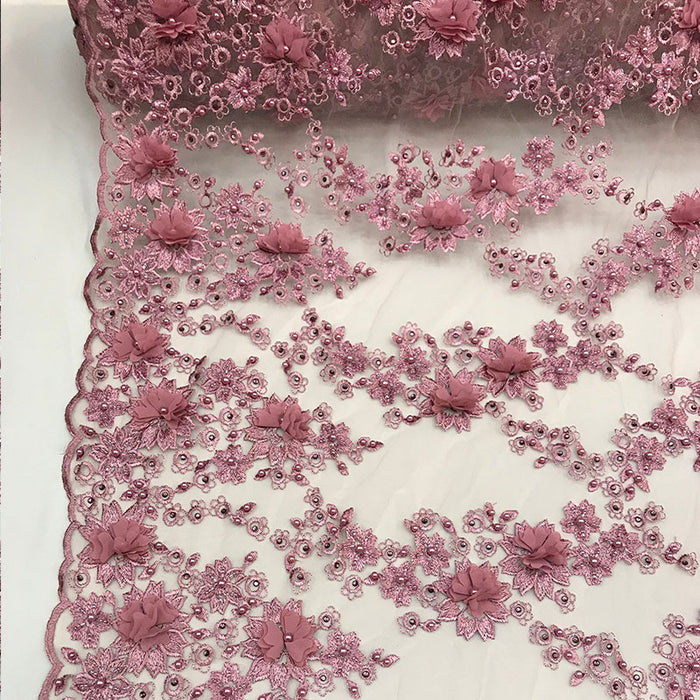 Dusty Rose - 3D Embroidered French Beaded Mesh Lace Fabric - IceFabrics