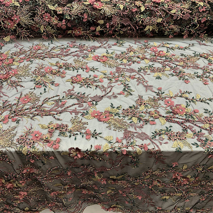 Dusty Rose - Most Expensive Lace 2019_ 3D Flowers/Floral_ Embroidery Beaded Mesh Lace Fabric By the Yard With Beads_ Handmade Lace With Pearls - IceFabrics