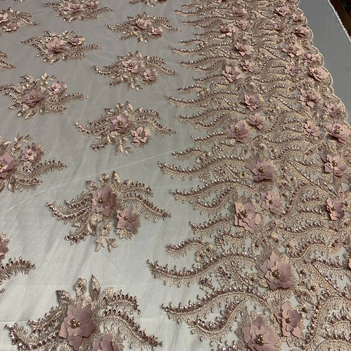 Dusty Rose - New 3D Beaded Flowers Hand Embroidered Floral Mesh Lace With Sequins By The Yard For Prom Dresses/Tablecloths/Runners/Night Gowns - IceFabrics