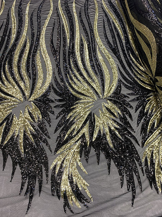 Gold - FEATHER French Sequins//Spandex Mesh 4 Way Stretch Sequins Spandex Mesh Lace Fabric By Yard//Sequins Stretch Prom Lace - IceFabrics