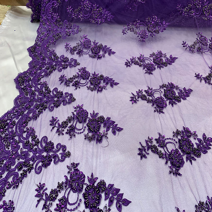 Purple - Floral Embroidered Bridal Wedding Beaded Mesh Lace Fabric - IceFabrics