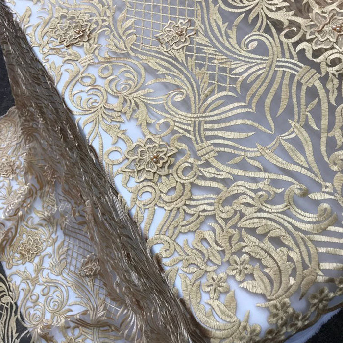 Gold Design Beaded Mesh Lace Fabric Bridal Wedding Sold By Yard clothing, jackets, dresses,skirts, applications, table covers, runners - IceFabrics