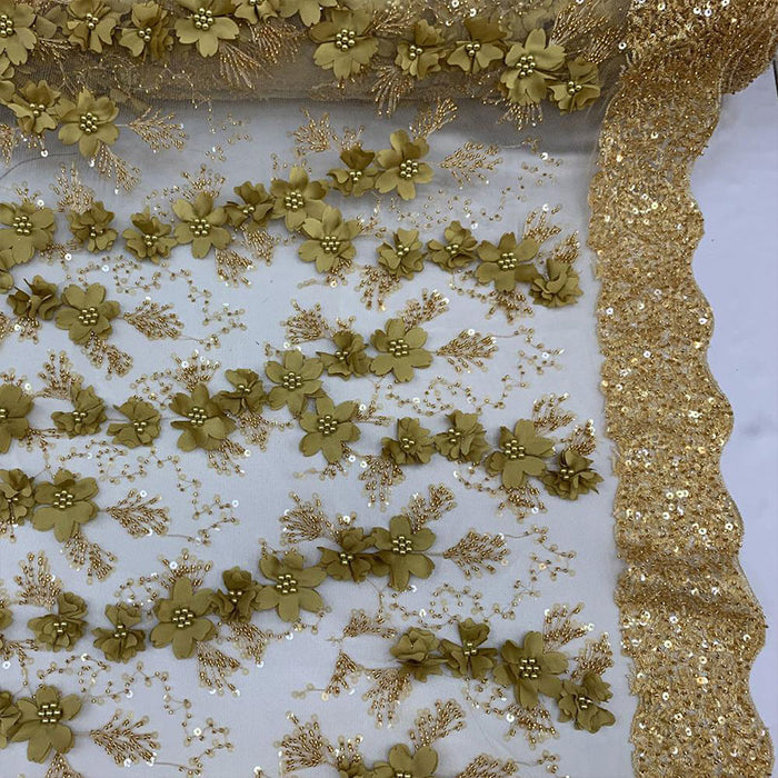 Gold - Floral 3D Flowers Beaded Lace With Faux Pearls Sequins ON The Edge Embroidered Hand Beaded Mesh Lace Fabric By The Yard - IceFabrics