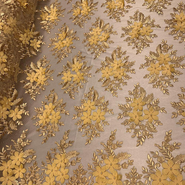 Gold - 3D Flowers Beaded Mesh Lace Bridal Fabric By The Yard/ Mesh Beaded Embroider Lace Floral Fabric/ Wedding Fabric, Prom Dress, Gowns - IceFabrics