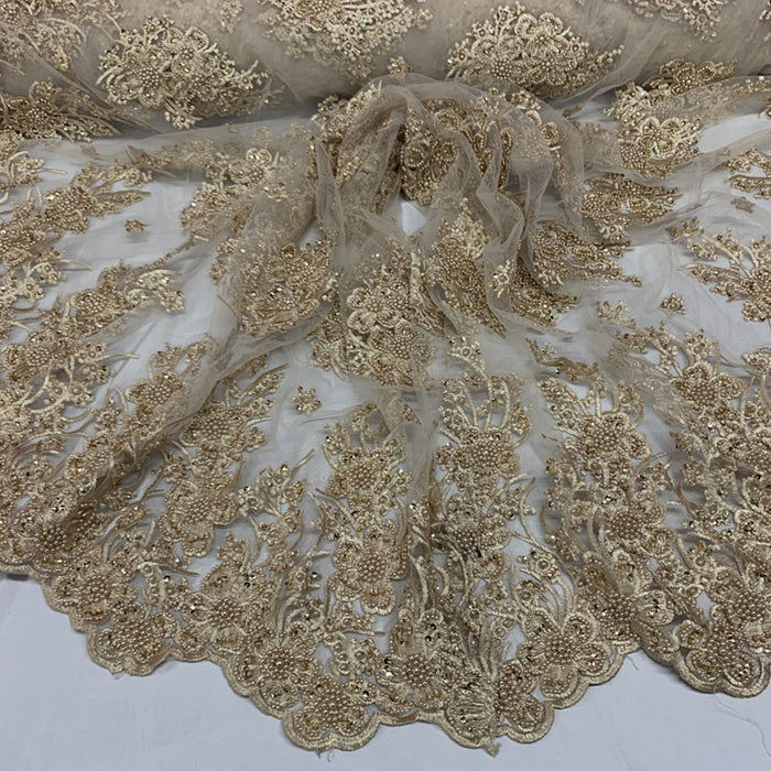 Gold - Corded Flowers Floral Beaded Mesh Lace Wedding Dress - IceFabrics