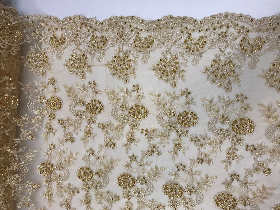 Gold Design Beaded Mesh Lace Fabric Bridal Wedding Sold By Yard clothing, jackets, dresses,skirts, applications, table covers runners - IceFabrics