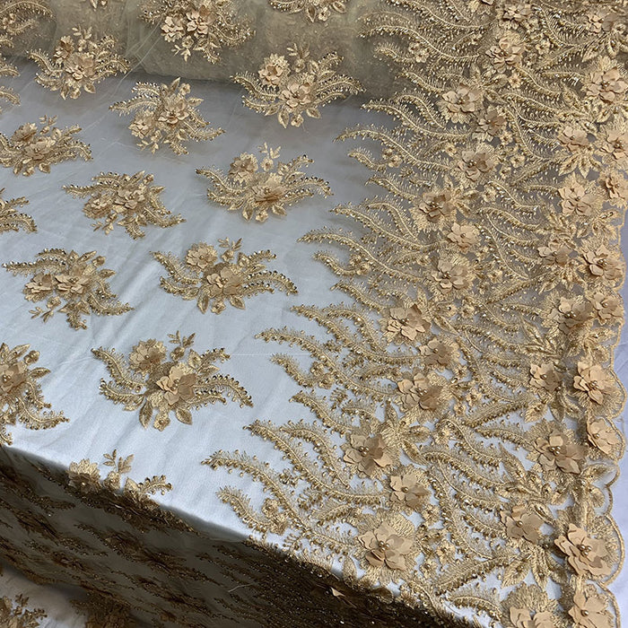 Gold - New 3D Beaded Flowers Hand Embroidered Floral Mesh Lace With Sequins By The Yard For Prom Dresses/Tablecloths/Runners/Night Gowns - IceFabrics