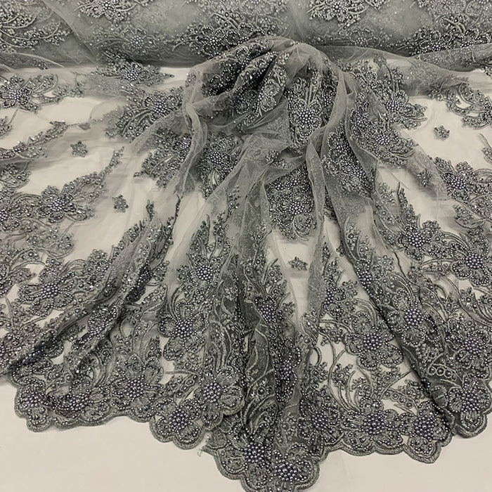 Gray - Corded Flowers Floral Beaded Mesh Lace Wedding Dress - IceFabrics