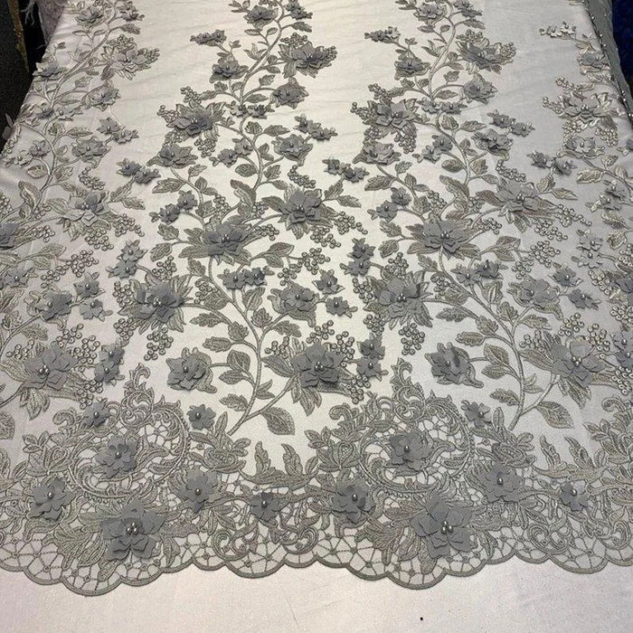 Gray - HIGH QUALITY Beaded Lace Embroidery Mesh Lace Fabric By The Yard Handmade Floral Lace 3D Flowers Design With Beads And Pearls - IceFabrics