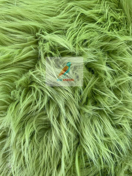 Green - Fur Coats, Fur Clothing, Blankets, Bed Spreads, Throw Blanket Fake Fur Solid Mongolian Long Pile Fabric / Sold By The Yard - IceFabrics