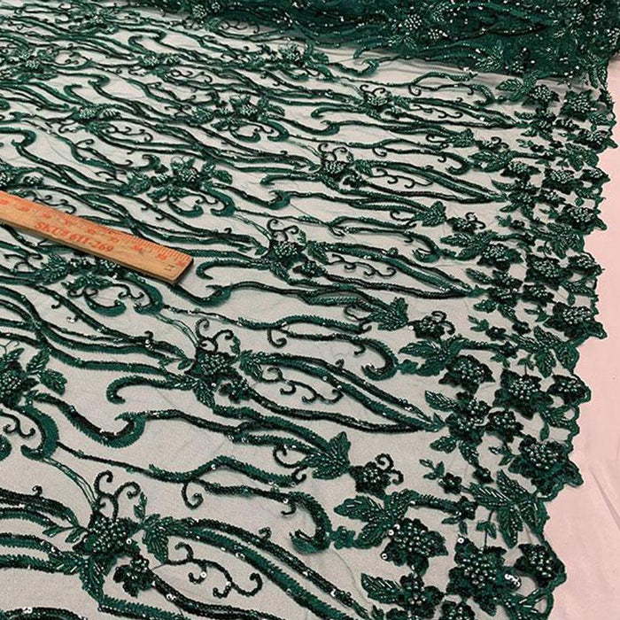 Hunter Green - Elegant Embroidery Bridal Floral Flowers Beaded Lace Fabric (20 Colors) - IceFabrics