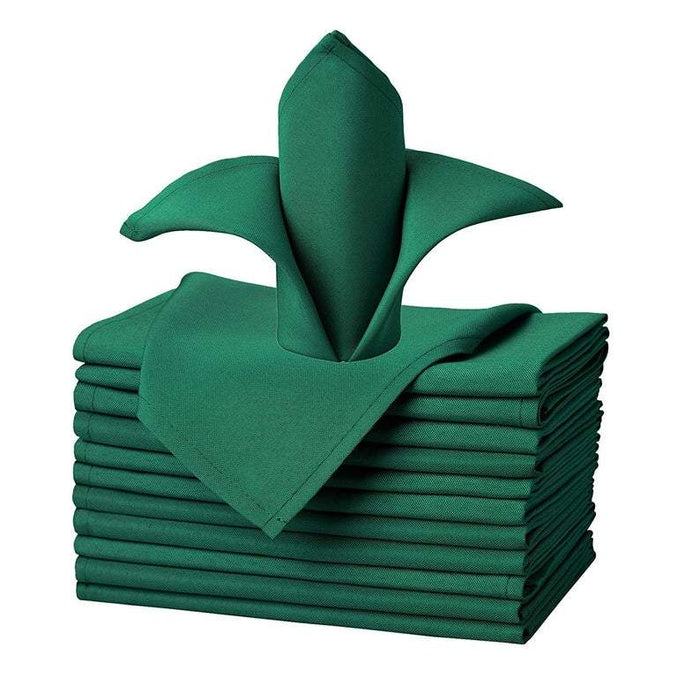 "Hunter Green - 20""x20"" Solid Polyester Washable Cloth Napkins For Wedding Party Restaurant Dinner - Set of 12 Pieces - IceFabrics"