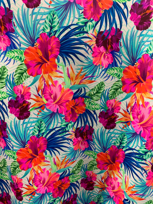 Hawaii Print Floral Nylon Spandex Swimsuit Fabric By The Yard