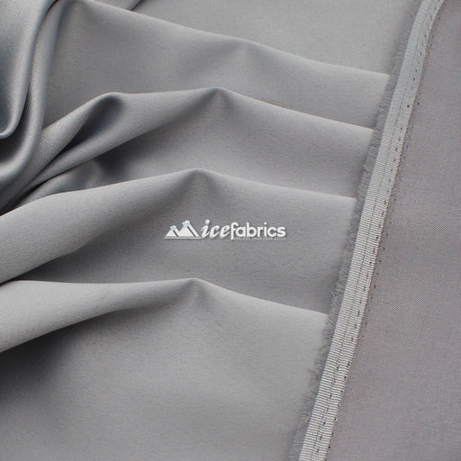 Silver - Armani Thick Silky Stretch Satin Fabric By The Yard - IceFabrics