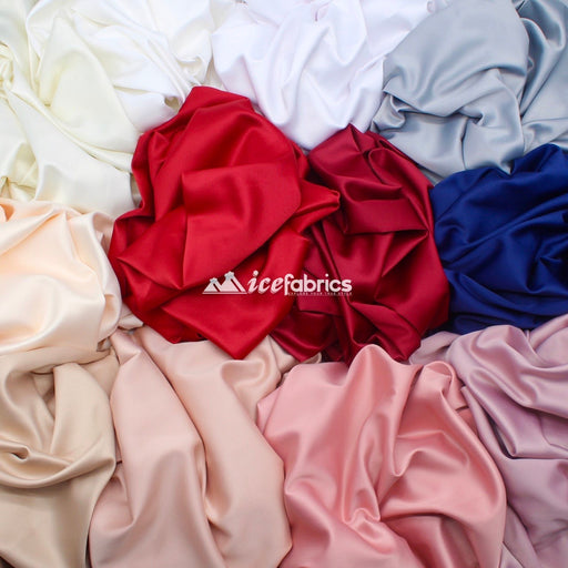 Armani Thick Solid Color Silky Stretch Satin Fabric Sold By The Yard