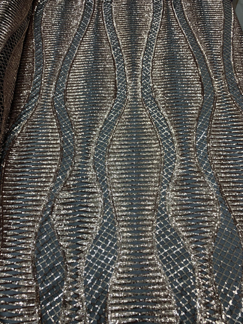 Black - Snake Design Bronze Sequins Spandex Mesh 4 Way Stretch Sequins On A Black Mesh// Geometric Embroidered Sequins Lace Fabric By The Yard - IceFabrics