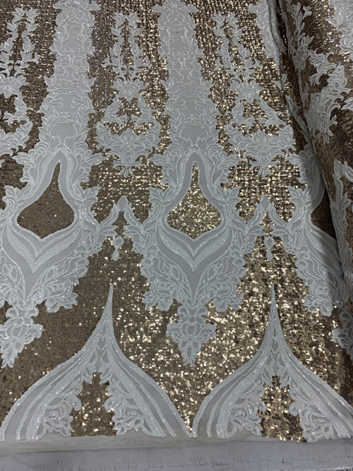 White/Matte Gold  - Snake Design Elegant 4 WAY Stretch Sequins On Power Mesh//Spandex Mesh Lace Sequins Fabric By The Yard//Embroidery Lace/ Gowns/Veil/ Bridal - IceFabrics