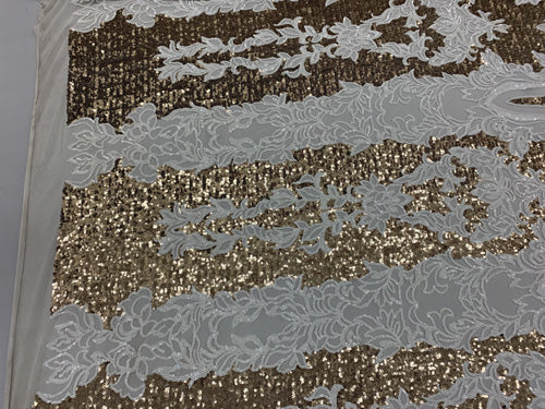 White/Matte Gold On Power Mesh  - Snake Design Elegant 4 WAY Stretch Sequins On Power Mesh//Spandex Mesh Lace Sequins Fabric By The Yard//Embroidery Lace/ Gowns/Veil/ Bridal - IceFabrics