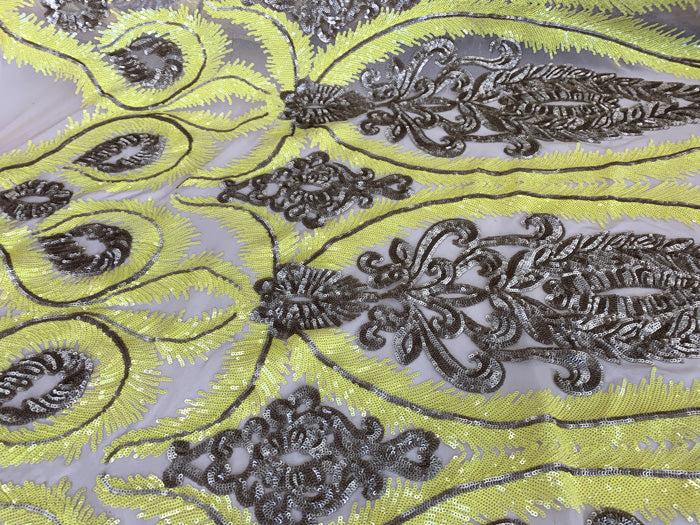 Yellow - French Luxury Sequins 4 WAY Stretch Sequins Spandex Power Mesh Lace Fabric Sold By The Yard// Embroidered Floral Lace//Dresses - IceFabrics