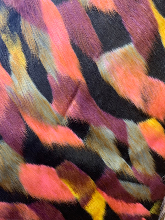 Black Yellow Coral - Multi_Color Animal Fake Faux Fur Fabric By The Yard - IceFabrics