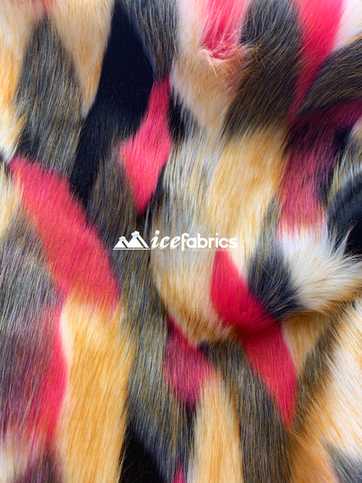 Black Brown Coral Gray - Multi_Color Animal Fake Faux Fur Fabric By The Yard - IceFabrics