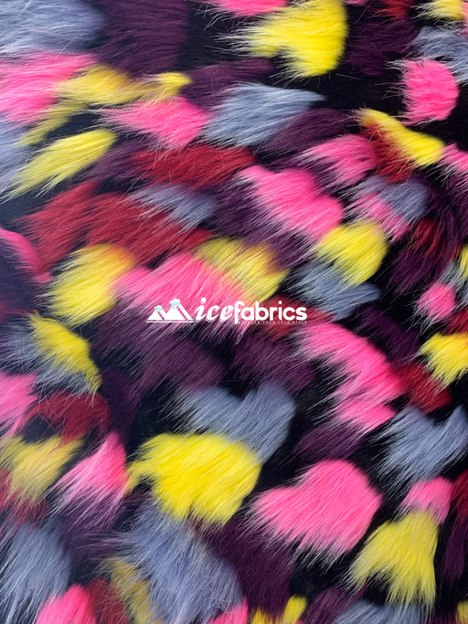 Yellow Pink Burgundy - Multi_Color Animal Fake Faux Fur Fabric By The Yard - IceFabrics