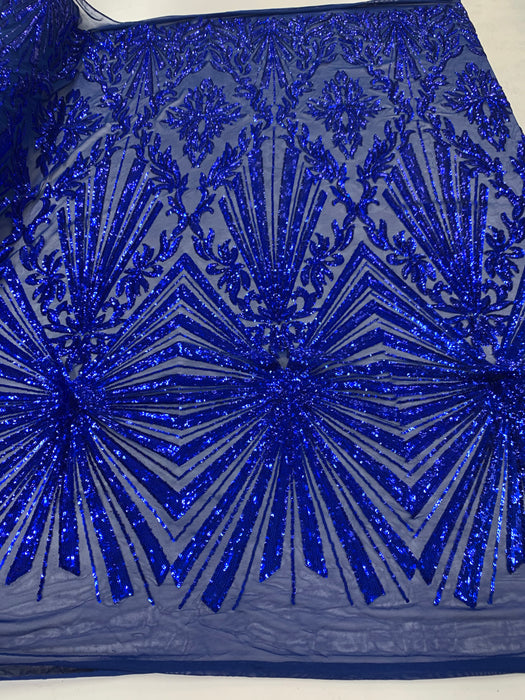 French Embroidery Stretch Sequins Fabric By The Yard on a Mesh