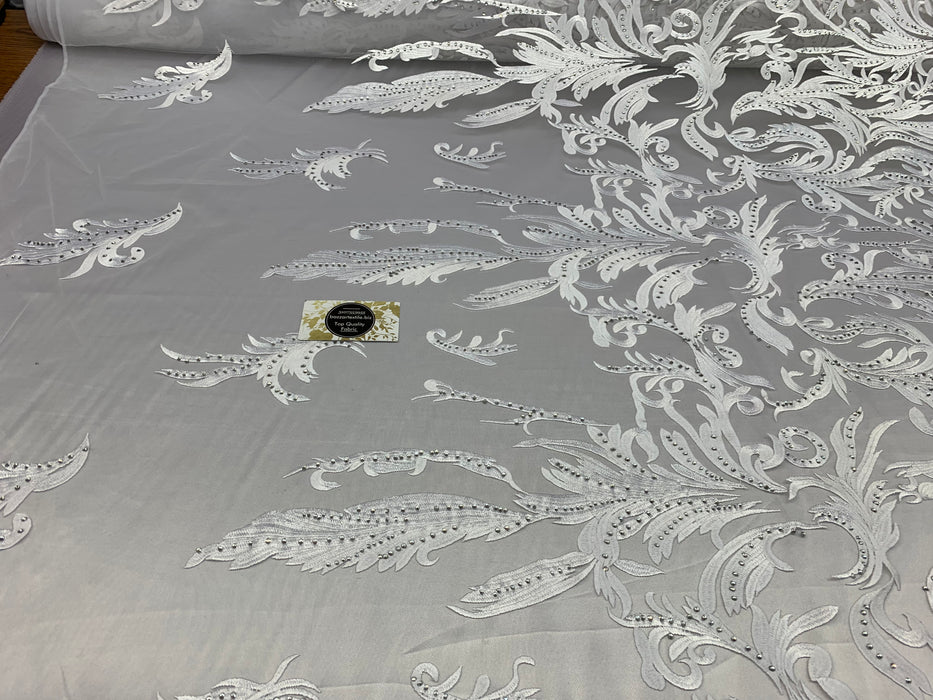 ONE Yard Mesh Lace Embroidered Fabric Leafs Design With Stones (White Color) High Quality Lace For Wedding/Prom/ Night Gowns Dress/ Fashion.