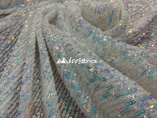 White Blue Iridescent - Iridescent Sequin 2 Way Mesh Stretch Sequins Fabric By The Yard - IceFabrics