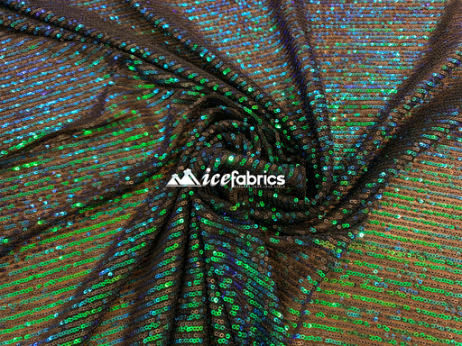 Green Iridescent - Iridescent Sequin 2 Way Mesh Stretch Sequins Fabric By The Yard - IceFabrics