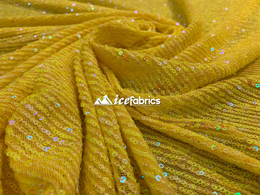 Yellow Iridescent - Iridescent Sequin 2 Way Mesh Stretch Sequins Fabric By The Yard - IceFabrics