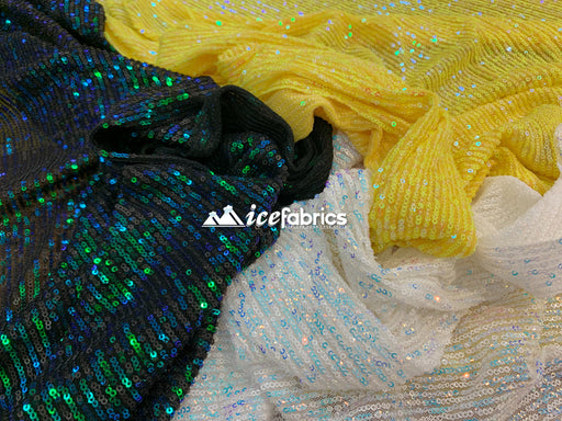 Iridescent Sequin 2 Way Mesh Stretch Sequins Fabric By The Yard