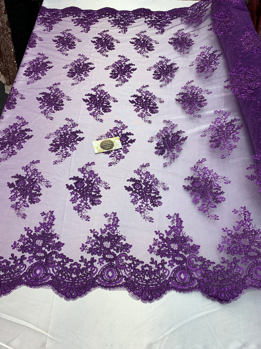 French Design Flower/Floral Mesh Lace (By The Yard)  Embroidery Lace Fabric (Purple) For Tablecloths/ Runners/ Skirts/ Costumes