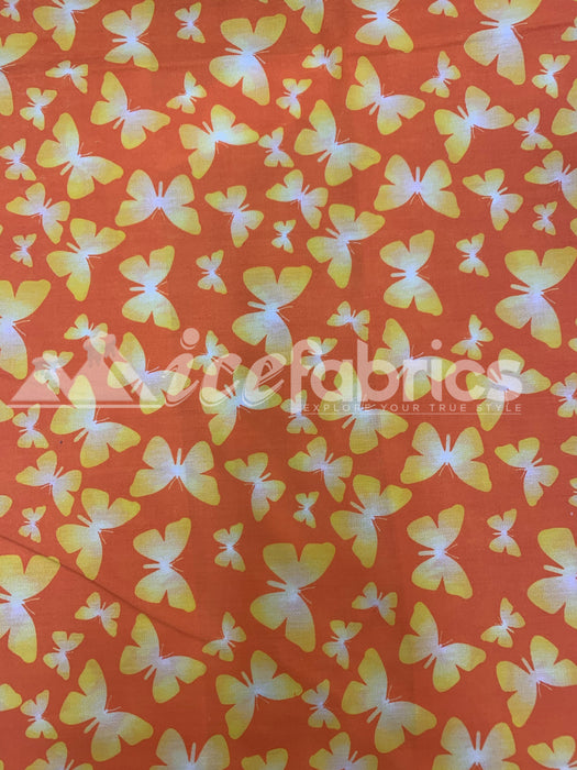 Fashion Butterfly Print Poly Cotton Fabric By The Yard (Orange, Red, Fuchsia)