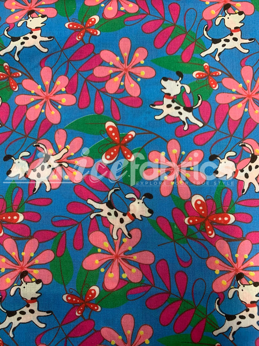 Fashion Doggy Flowers Print Poly Cotton Fabric By The Yard