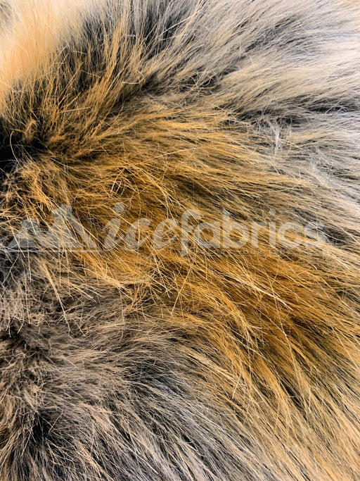 Fashion Stripe Brown&Gold Thick Faux Fur Fabric Material By The Yard