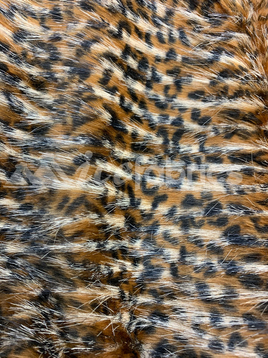 Fashion Gold Leopard Faux Fur Fabric Material By The Yard (Long Pile)