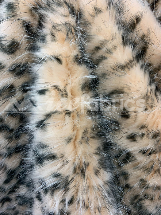 Fashion Animal Leopard Faux Fur Fabric Material By The Yard (Long Pile)