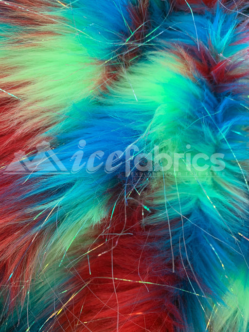Fashion long Pile Faux Fur Fabric By The Yard Rainbow 3 Tone Tinsel