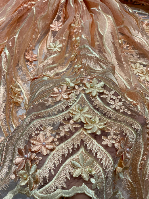 Peach_3D FLOWERS Hand Beaded Mesh Lace Fabric Embroidery Lace Fabric By The Yard/Floral Embroidered Handmade/Gowns/ Dress/ Tablecloths/